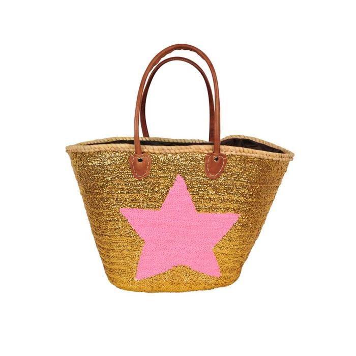 panier de plage pailettes dor et motif toile rose achat vente panier sac de plage. Black Bedroom Furniture Sets. Home Design Ideas