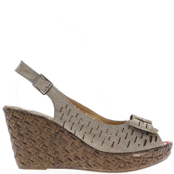 sandales compens es taupe avec noeud talon de 8 5cm et. Black Bedroom Furniture Sets. Home Design Ideas