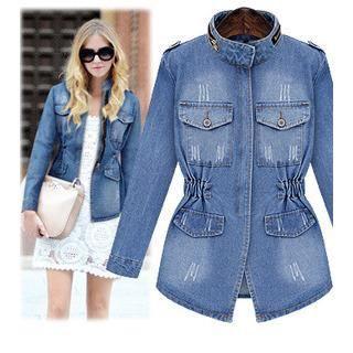 veste en jean manches longues femme bleu bleu achat vente blouson cdiscount. Black Bedroom Furniture Sets. Home Design Ideas