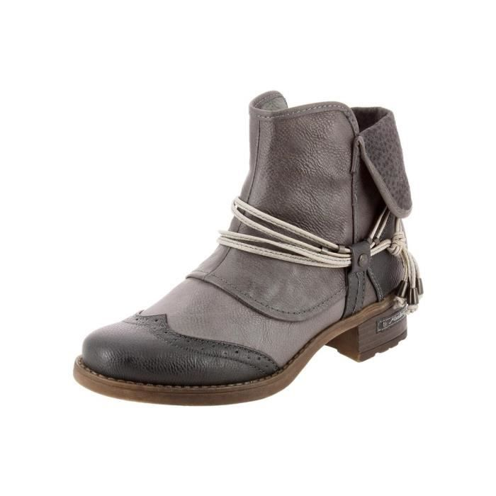 bottines low boots 1229501 femme mustang 1229501 gris. Black Bedroom Furniture Sets. Home Design Ideas