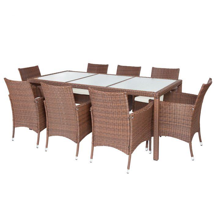 Salon de jardin ambre 8 chaises et 1 table en r sine tress e poly rotin structure acier marron - Salon de jardin table et chaises mulhouse ...