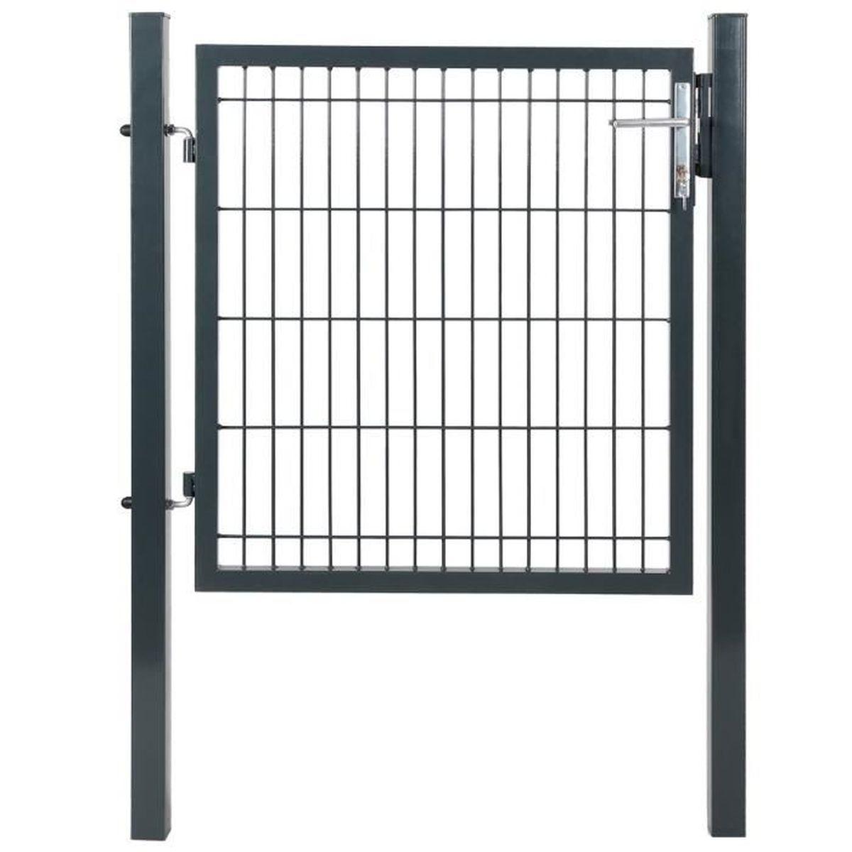 portillon de jardin avec serrure maille m tallique 150 x 103 cm achat vente portail. Black Bedroom Furniture Sets. Home Design Ideas