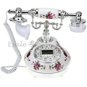 Téléphone fixe Téléphone Fixe Fil Résine Rétro FLEUR avec Combiné