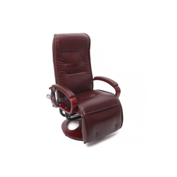 fauteuil avec massage simili cuir bordeaux achat vente fauteuil cdiscount. Black Bedroom Furniture Sets. Home Design Ideas
