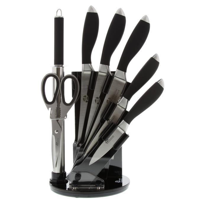 Bloc de couteaux de cuisine 7 pi ces noir 4 c achat - Bloc couteaux de cuisine ...
