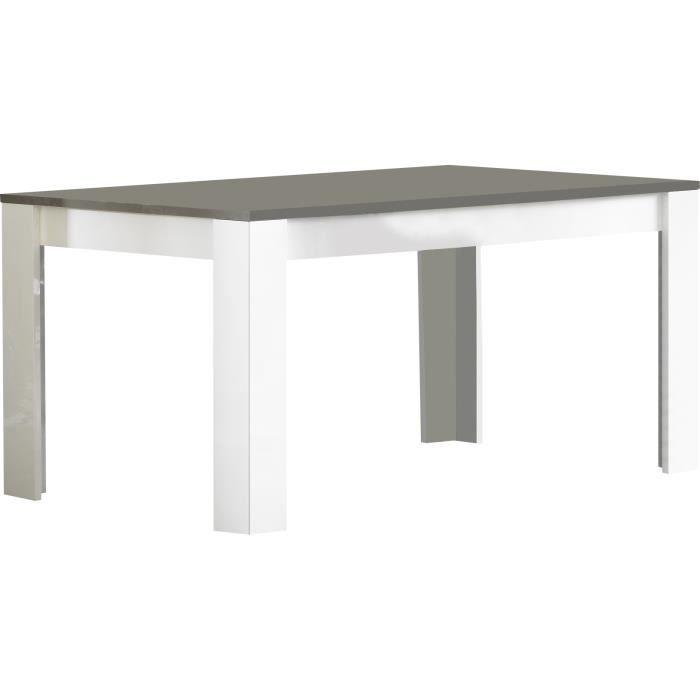 Table manger laqu e brillante de 160cm coloris blanc et for Table a manger blanche et grise
