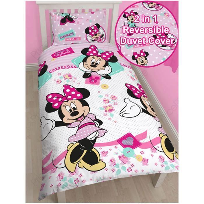 minnie mouse parure de lit 1 personne achat vente housse de couette cdiscount. Black Bedroom Furniture Sets. Home Design Ideas