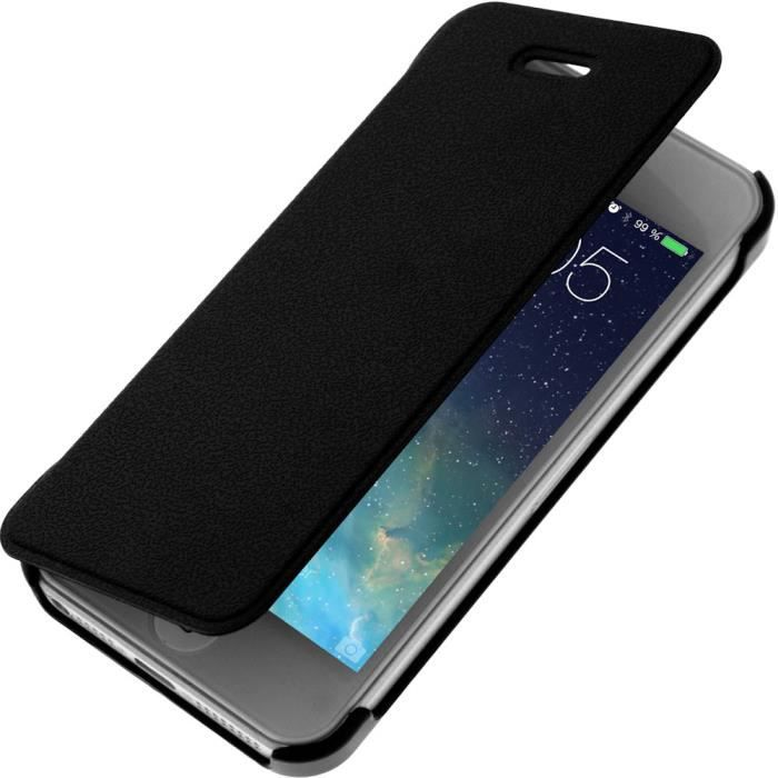 Etui coque clapet folio noir apple iphone 5 5s housse for Etui housse iphone 5