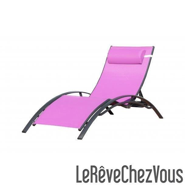 Chaise longue textil ne prune et aluminium noir achat for Chaise de jardin aluminium et textilene
