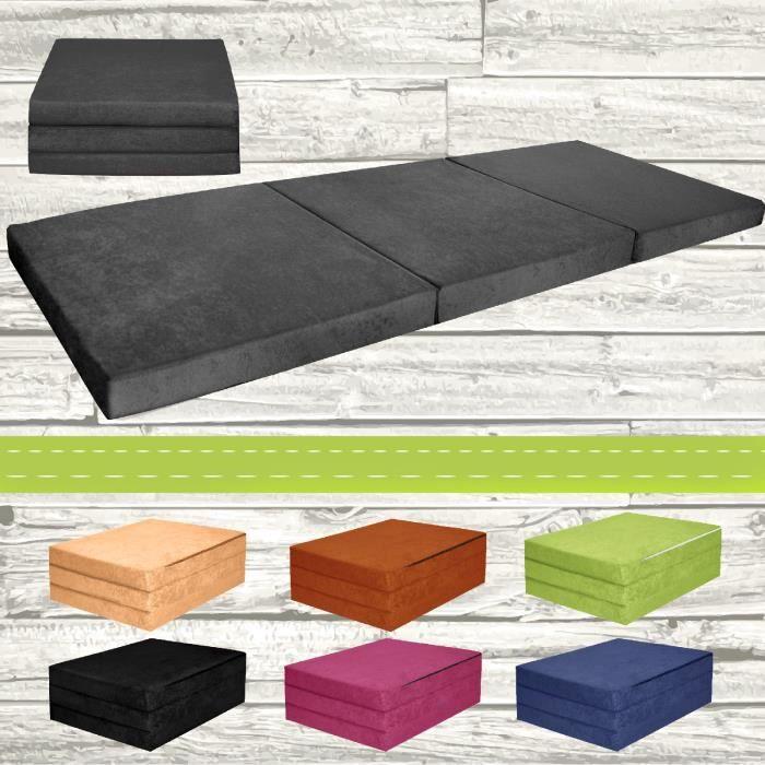 chauffeuse couchage d 39 appoint matelas pliant lit d 39 invit futon 195x80x9cm achat vente. Black Bedroom Furniture Sets. Home Design Ideas