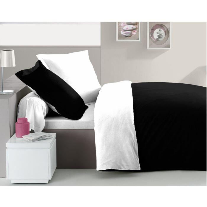 casatxu housse 200x200cm taies noir blanc achat vente housse de couette cdiscount. Black Bedroom Furniture Sets. Home Design Ideas