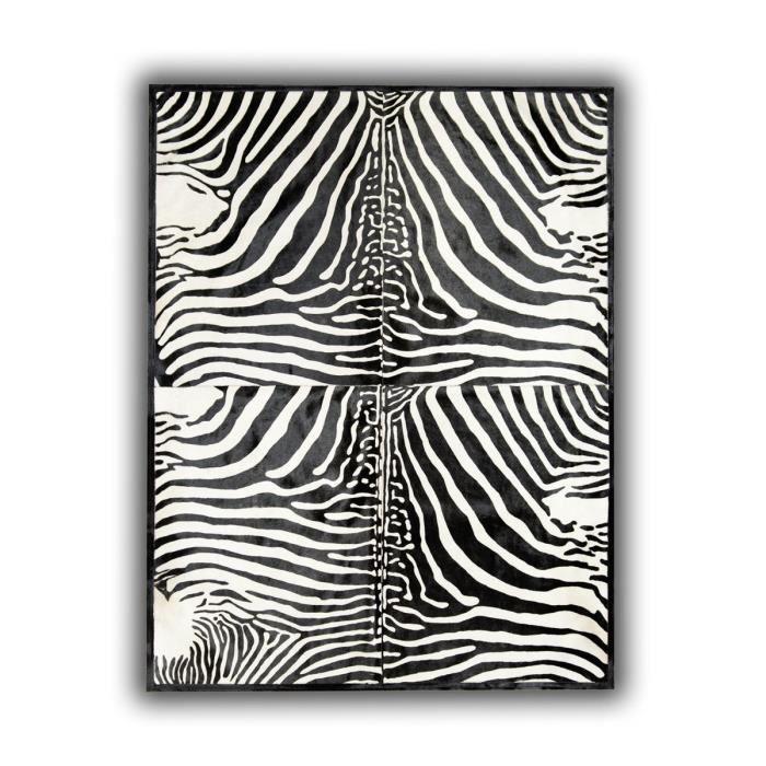 allotapis tapis avec impression z br sur peau de vache noir et blanc lugo 140x200cm z bre. Black Bedroom Furniture Sets. Home Design Ideas
