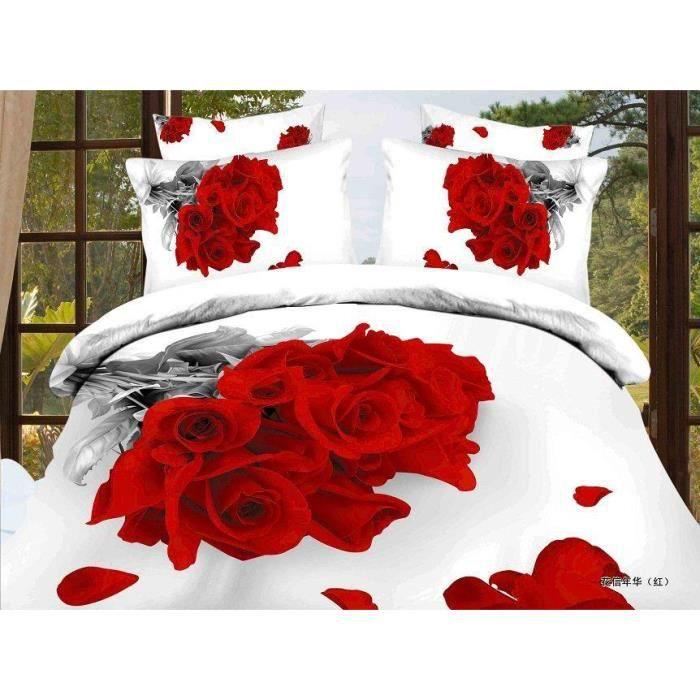4 pi ces housse de couette motif de fleurs avec des rose for Housse de couette motif