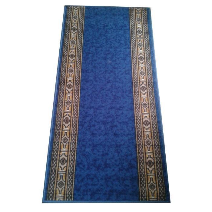 Tapis De Couloir Bleu Motifs Marron En Bordure 67 X 100cm