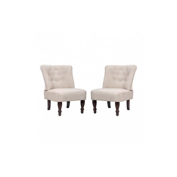 Paire de fauteuils capitonn s sans accoudoirs bois blanc for Fauteuil bois blanc