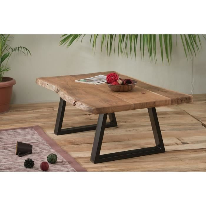 Table basse naturel m tal et bois 39 zen 39 meuble house for Table bois metal design
