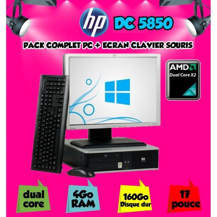 ordinateur de bureau hp 5850 amd dual core avec ecran 17 prix pas cher les soldes sur. Black Bedroom Furniture Sets. Home Design Ideas