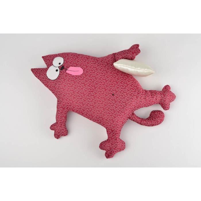 Coussin chat rouge fait main deco maison en tissus a motif - Coussin pour canape pas cher ...