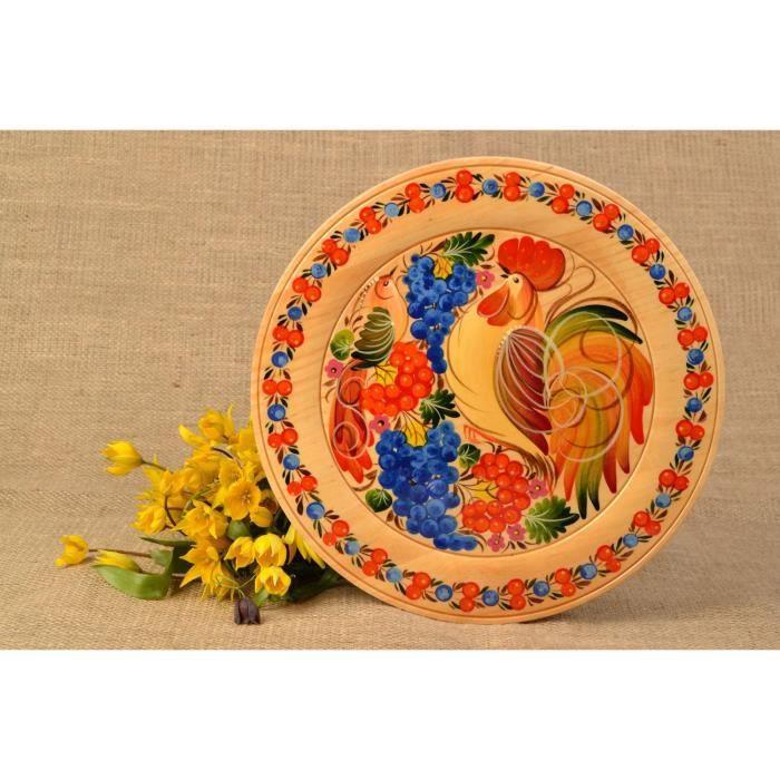assiette en bois d corative faite main murale ou de table peinture petrykivka achat vente. Black Bedroom Furniture Sets. Home Design Ideas