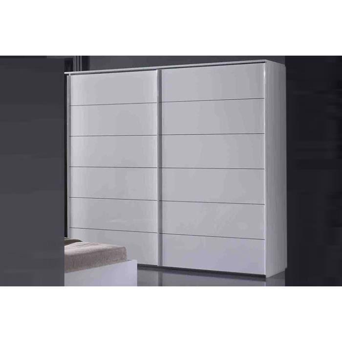 garda laque blanc armoire 2 portes coullisantes l 200 achat vente chambre compl te garda. Black Bedroom Furniture Sets. Home Design Ideas