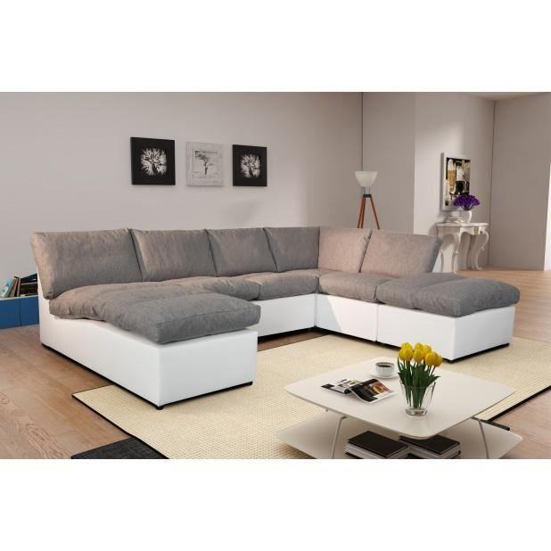 canap d 39 angle modulable avanti gris blanc panoramique achat vente ca. Black Bedroom Furniture Sets. Home Design Ideas