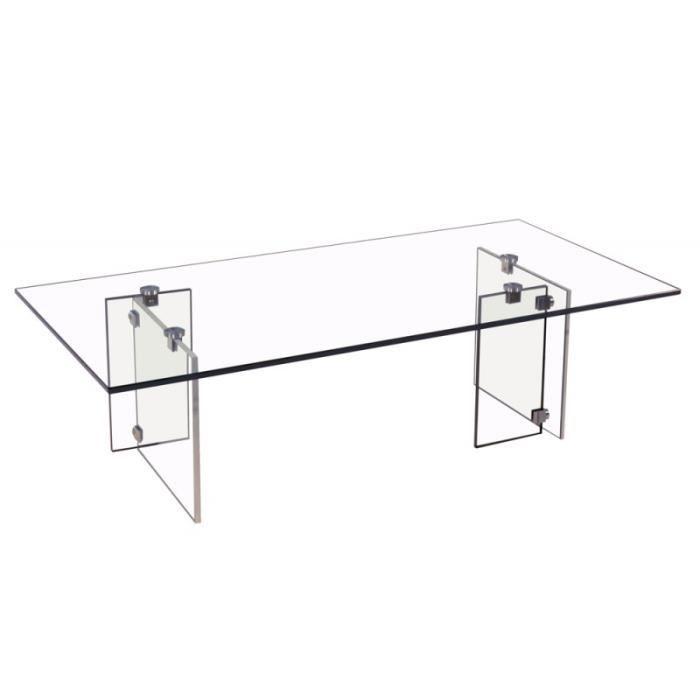 Table basse verre transparent glassy achat vente table for Position verre sur table