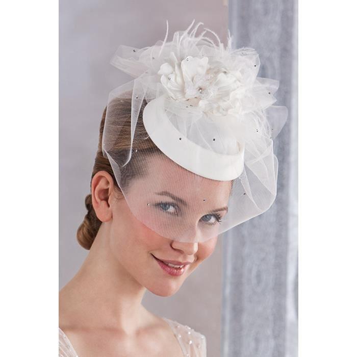 bibi de mariage blanc avec voilette en tulle et achat. Black Bedroom Furniture Sets. Home Design Ideas