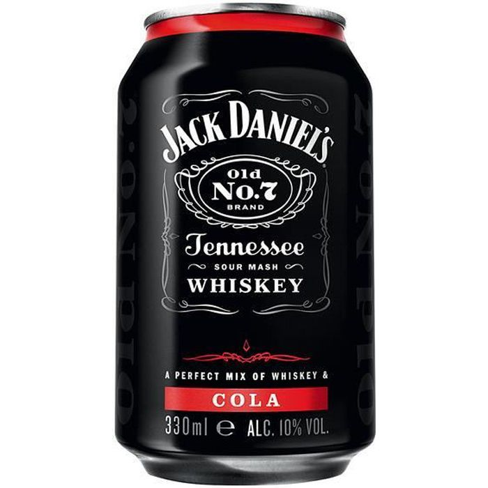 jack daniels tennessee whiskey cola 6 x 0 33l achat vente jack daniels tennessee whis. Black Bedroom Furniture Sets. Home Design Ideas