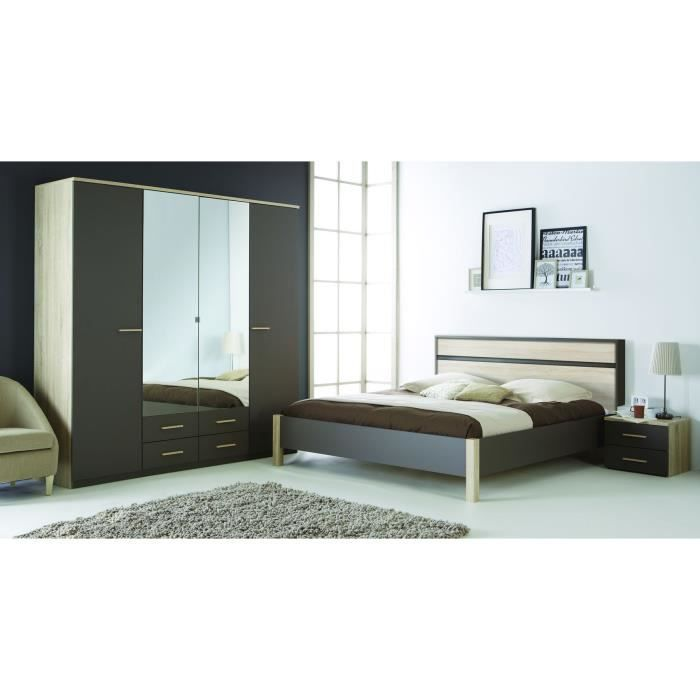 Selena lit adulte 160x200cm ch ne bross lavande achat for Model de chambre adulte