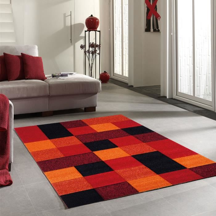 Tapis moderne brillance cube rouge 160x230 pa achat vente tapis cd - Tapis discount moderne ...