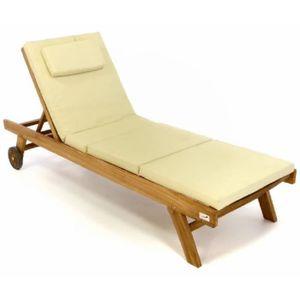 CHAISE LONGUE Chaise longue en teck, et son coussin couleur crèm