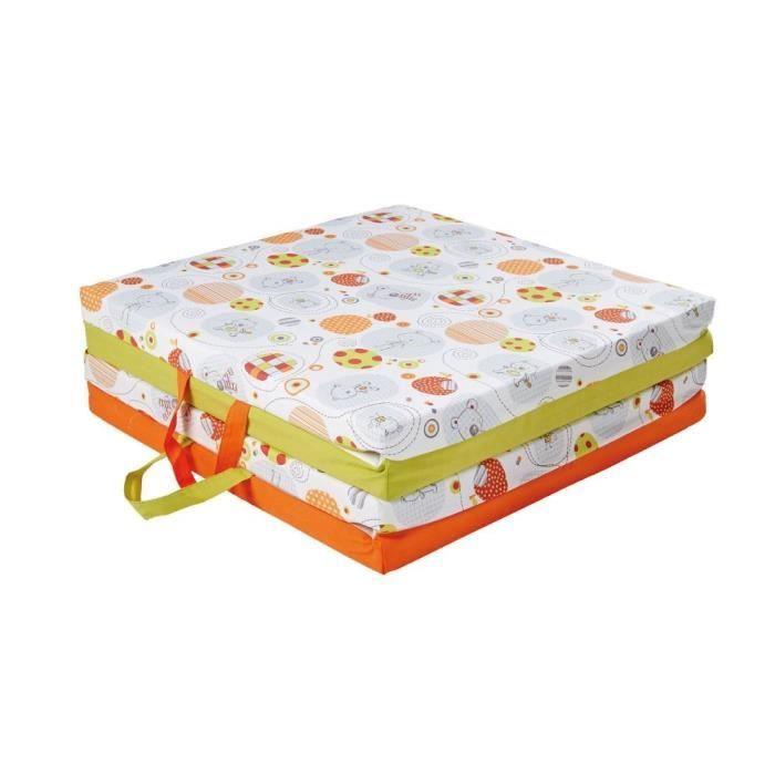 tineo matelas tapis malin 120 x 120 x 4 cm orange vert anis et imprim achat vente matelas. Black Bedroom Furniture Sets. Home Design Ideas