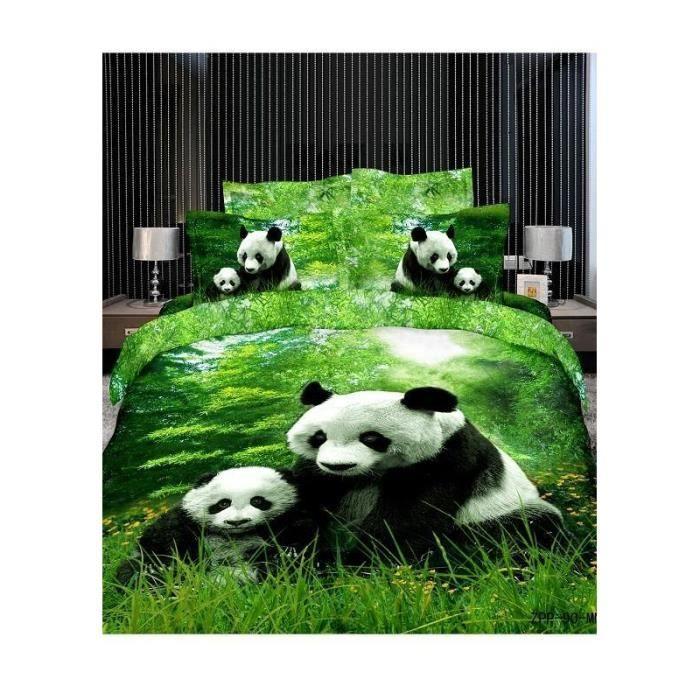 parure de lit 2 pers coton panda dans l 39 herbe achat. Black Bedroom Furniture Sets. Home Design Ideas