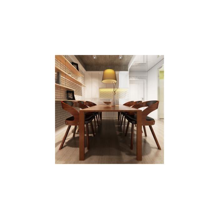 Lot de 6 chaises accoudoirs en cuir m lang et bois brun achat vente ch - Lot de 6 chaises en bois ...
