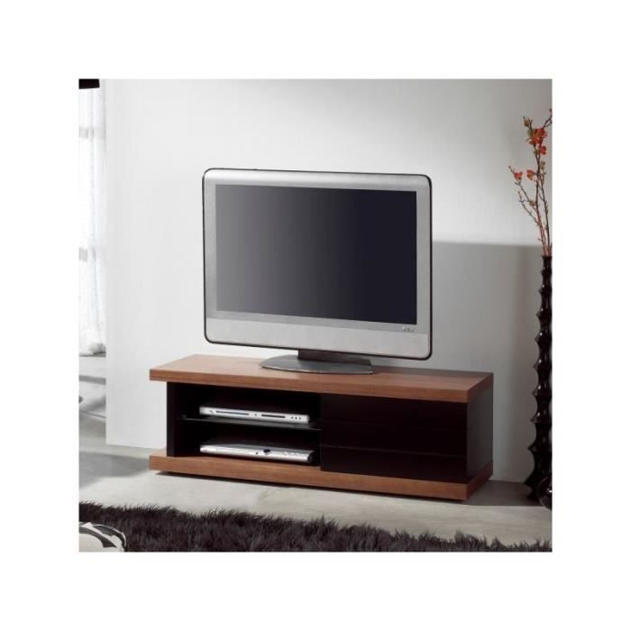 Meuble tv wengu laqu noir odily noir et weng achat for Meuble tv wenge