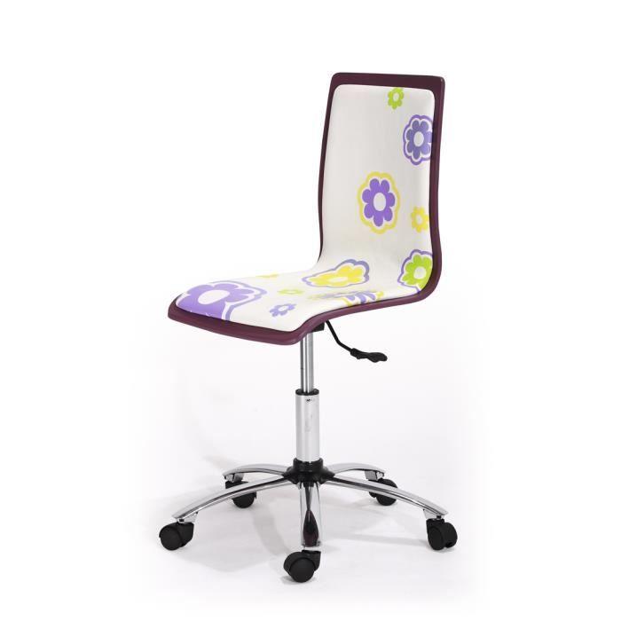 chaise de bureau violet et blanc flowers dime achat vente chaise de bureau violet cdiscount. Black Bedroom Furniture Sets. Home Design Ideas