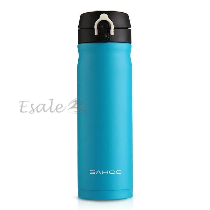 500ml mug bo teille tasse thermos vacuum isotherme chaud froid portable bleu prix pas cher. Black Bedroom Furniture Sets. Home Design Ideas
