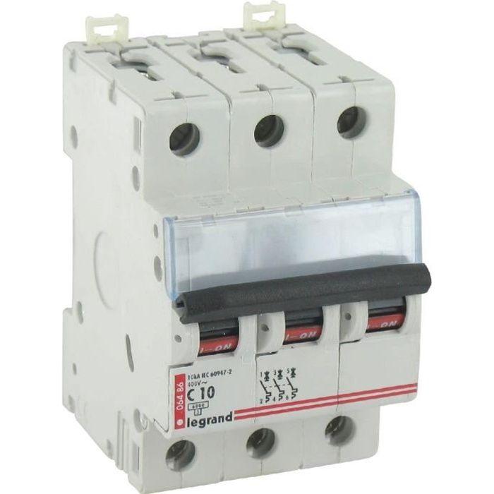 Disjoncteur magn to thermique type c legrand tripolaire 400 v coupure 6000 a intensit 10 a - Disjoncteur magneto thermique ...