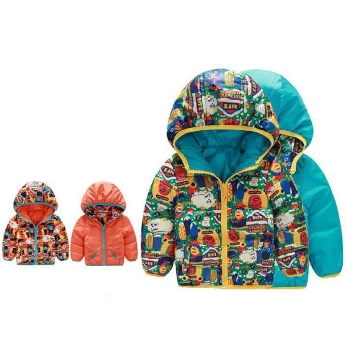 surv tement manteau d 39 hiver enfants floral doub bleu achat vente manteau caban cdiscount. Black Bedroom Furniture Sets. Home Design Ideas
