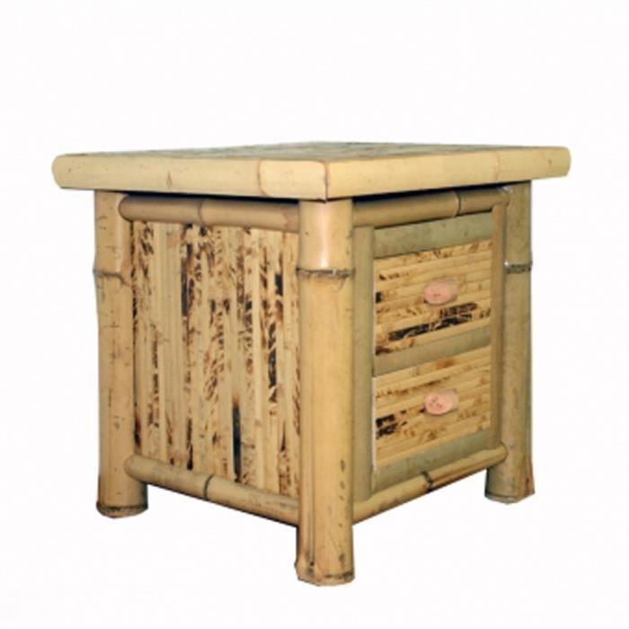 commode table de nuit avec 2 tiroirs en bambou achat vente bout de lit commode table de. Black Bedroom Furniture Sets. Home Design Ideas