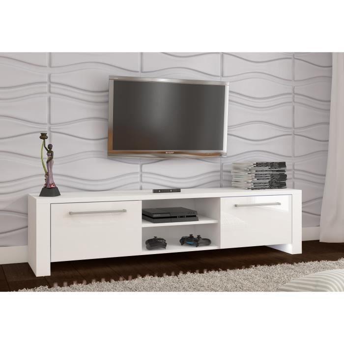 MEUBLE TV ORLANDO NOUVEAU - Blanc mat / brillant blanc à l ...
