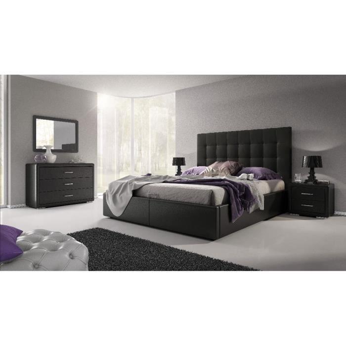 Lit design avec coffre lena noir achat vente lit - Chambre adulte cdiscount ...