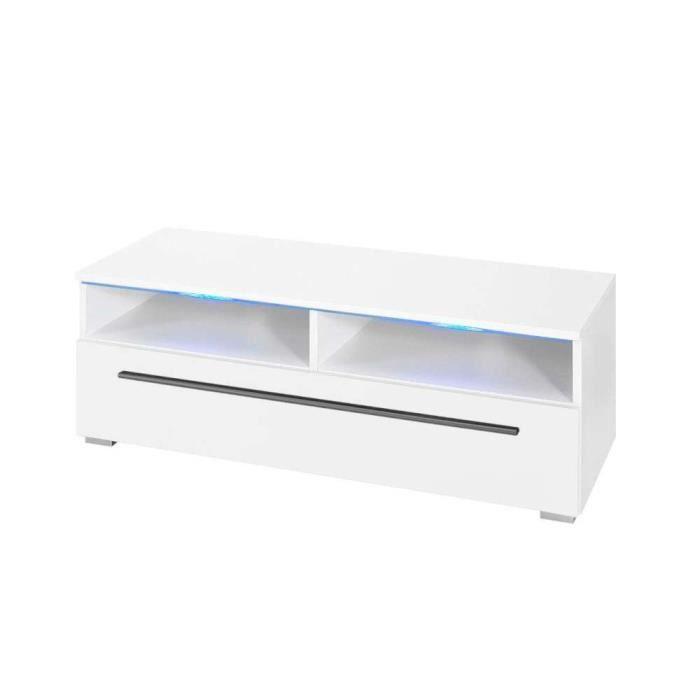 justhome verona meuble tv hxlxp 35x100x42 cm couleur blanc mat blanc laqu haute brillance. Black Bedroom Furniture Sets. Home Design Ideas