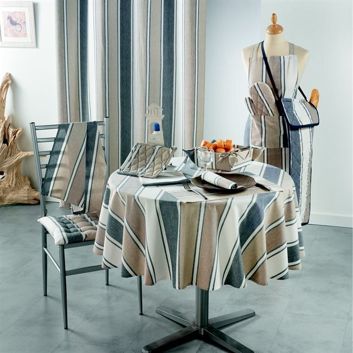 nappe ronde coton imprim 180 cm belle ile achat vente nappe de table cdiscount. Black Bedroom Furniture Sets. Home Design Ideas