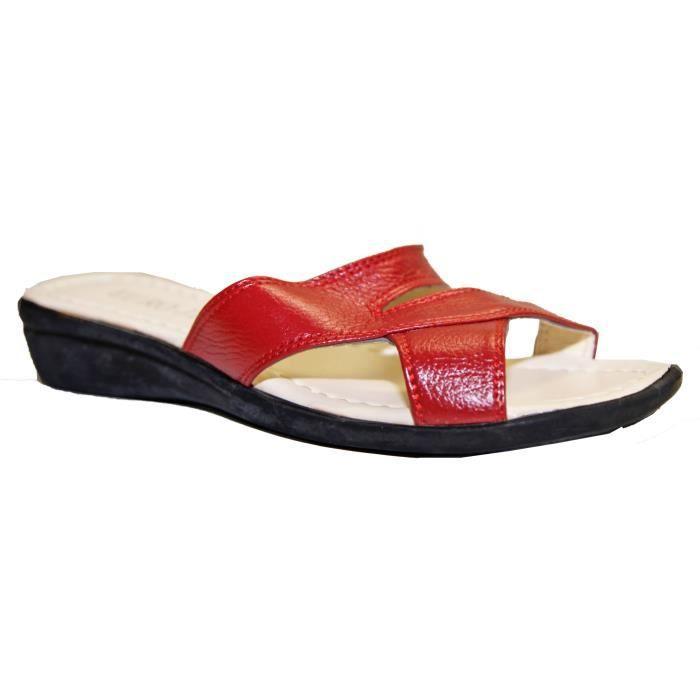 sandales claquettes pieds nus femme simili cuir confortable pointures 37 au 42 bordeaux. Black Bedroom Furniture Sets. Home Design Ideas