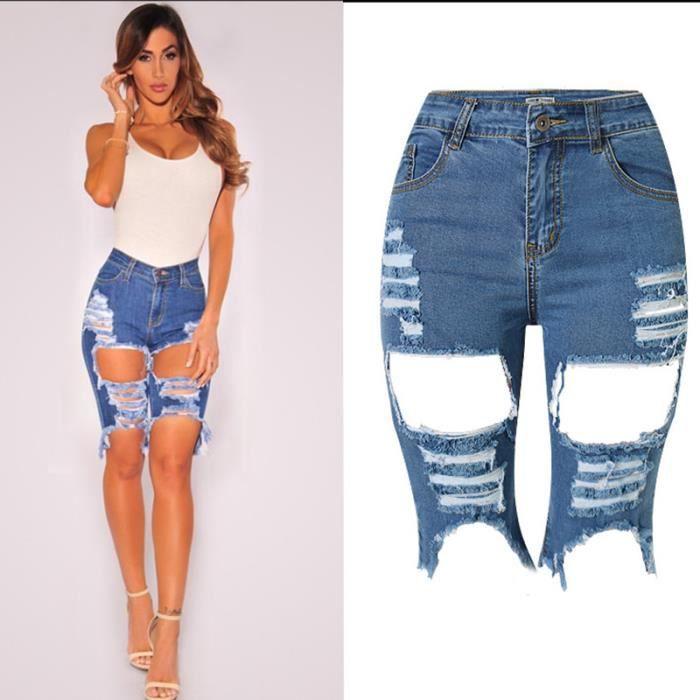 bermuda en jean coupe skinny avec d chirer pour femme bleu. Black Bedroom Furniture Sets. Home Design Ideas
