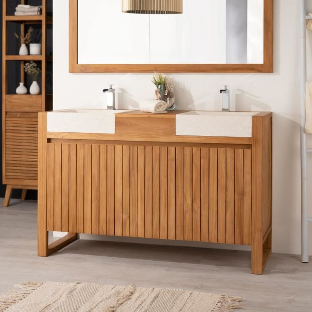 meuble en teck salle de bain achat vente meuble en teck salle de bain pas cher les soldes. Black Bedroom Furniture Sets. Home Design Ideas