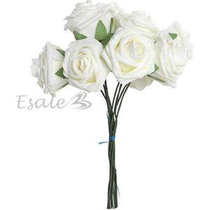 FLEUR ARTIFICIELLE Bouquet 10pcs Fleur Artificiel Roses Mousse Blanc