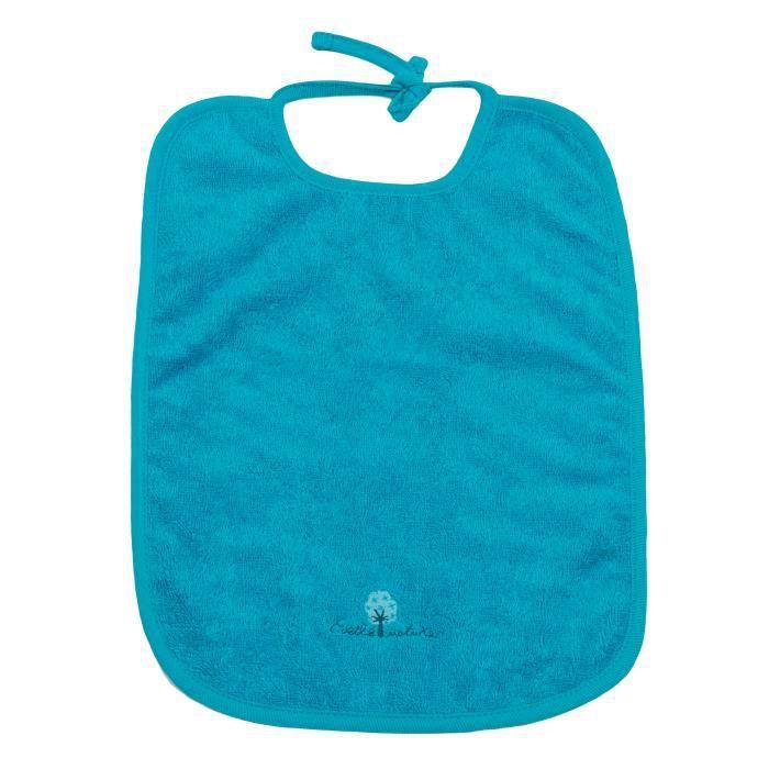 grand bavoir eponge coton bio 30x40 cm 0 36 mois bleu attaches achat vente bavoir. Black Bedroom Furniture Sets. Home Design Ideas