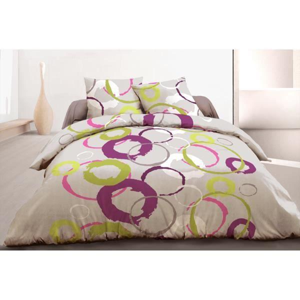 parure de couette 3 pcs 220x240 100 coton 57 fils circles bordeaux achat vente parure de. Black Bedroom Furniture Sets. Home Design Ideas